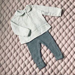 Zara knitted Leggings And Peter Pan Collar Top